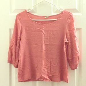 Coral pink, Round neck blouse